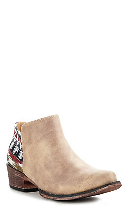 Roper Tan with Aztec Tapestry Leather Snip Toe Booties