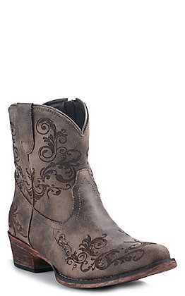 Roper Women's Brown Laser Print Snip Toe Western Booties