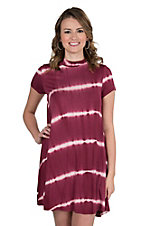 Renee C. Women's Burgundy and White Tie Dye Cap Sleeve Dress