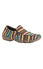 Roper Women's Multi Colored Striped Slip On Casual Moccasin