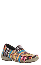 Ladies Multi Color Southwest Strip Casual Slip On Shoe