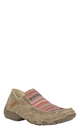 Roper Women's Tan with Multi Color Casual Slip On Shoe