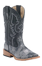 Roper Women's Black Metallic Faux Sting Ray Square Toe Western Boots