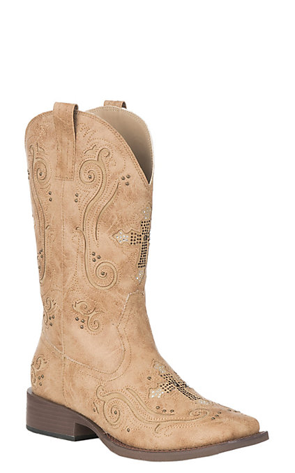 6bd4e8f51f9 Roper Women's Faith Tan with Cross Inlay Western Wide Square Toe Boots