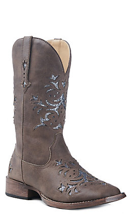 Roper Women's Brown Faux Leather with Turquoise Glitter Inlay Square Toe Western Boot