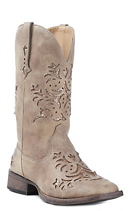 Roper Women's Tan Faux Leather with Gold Glitter Inlay Square Toe Western Boot