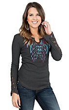 Cowgirl Hardware Black with Blue and Pink Aztec Embroidery Long Sleeve Casual Knit Top