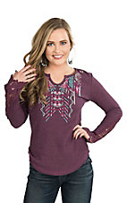 Cowgirl Hardware Women's Purple with Aztec Embroidery and Crochet Details on Long Bell Sleeves Casual Knit Shirt