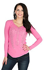 Cowgirl Hardware Women's Pink with Studded Cross and Crochet Back Long Sleeve Ribbed Casual Knit Shirt