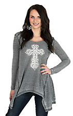 Cowgirl Hardware Women's Grey with White Cross and Shark Bite Hem Long Sleeves Casual Knit Shirt