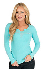 Cowgirl Hardware Women's Blue with Studded Steer Head and Crochet Back Long Sleeve Ribbed Casual Knit Shirt