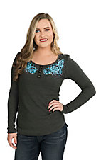 Cowgirl Hardware Women's Grey with Turquoise Scroll Embroidery and Lace Details Long Sleeve Casual Knit Shirt