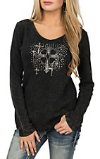 Cowgirl Hardware Women's Black Long Sleeve Sparkle Cross Casual Knit Shirt