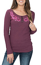 Cowgirl Hardware Women's Magenta Vine Embroidery & Lace Back L/S Waffle Casual Knit Shirt