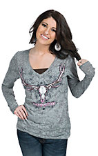 Cowgirl Hardware Women's Grey with Skull Hunt Top