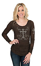 Cowgirl Hardware Women's Chocolate with Rhinestone Cross Long Sleeve Burnout Thermal
