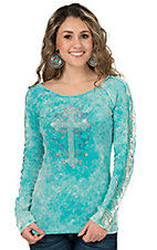 Cowgirl Hardware Women's Washed Turquoise with Rhinestud Cross Long Sleeve Shirt