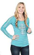 Cowgirl Hardware Women's Turquoise with Rhinestone Cross Long Lace Sleeve Casual Knit Top