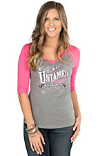 Cowgirl Hardware Women's Grey Untamed Cowgirl with Pink 3/4 Sleeve Knit Top