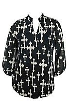 Cowgirl Hardware Women's Black with white Crosses 3/4 Tab Sleeve Hi-Lo Fashion Top - Plus Size