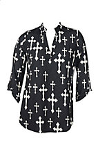 Cowgirl Hardware Women's Black with Cream Crosses 3/4 Tab Sleeve Hi-Lo Fashion Shirt - Plus Size