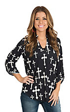 Cowgirl Hardware Women's Black with Cream Crosses 3/4 Tab Sleeve Hi-Lo Fashion Shirt