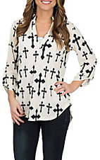 Cowgirl Hardware Women's Cream and Black Cross Fashion Shirt