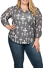 Cowgirl Hardware Women's Charcoal and White Fashion Cross Fashion Top - Plus Sizes