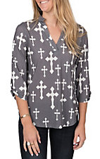 Cowgirl Hardware Women's Charcoal and White Fashion Cross Fashion Top