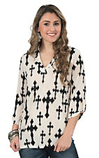 Cowgirl Hardware Women's Cream with Black Crosses 3/4 Tab Sleeve Hi-Lo Fashion Top - Plus Size