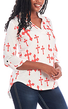 Cowgirl Hardware Women's White with Coral Cross Print Fashion Top