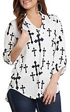 Cowgirl Hardware Women's Black and White Fashion Cross Fashion Top