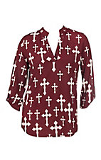 Cowgirl Hardware Women's Maroon & Cream Fashion Cross High-Low Fashion Shirt - Plus Size