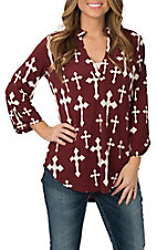 Cowgirl Hardware Women's Maroon & Cream Fashion Cross High-Low Fashion Shirt