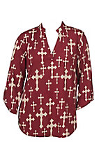 Cowgirl Hardware Women's Burgundy with Cream Crosses 3/4 Tab Sleeve Hi-Lo Fashion Top - Plus