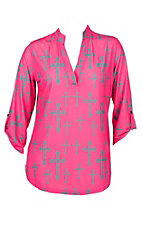 Cowgirl Hardware Women's Pink and Charcoal Fashion Cross Hi-Low Fashion Shirt - Plus Size