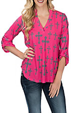 Cowgirl Hardware Women's Pink and Charcoal Fashion Cross Hi-Low Fashion Shirt