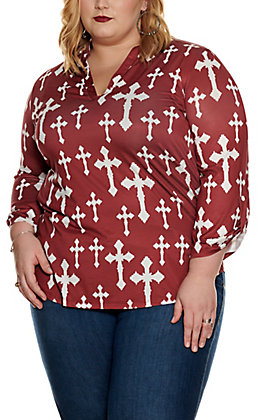 Cowgirl Hardware Women's Maroon with White Cross Print 3/4 Sleeve Fashion Top - Plus Sizes