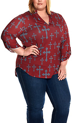 Cowgirl Hardware Women's Maroon with Grey Cross Print Long Sleeve Fashion Top - Plus Sizes