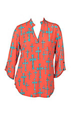 Cowgirl Hardware Women's Coral with Turquoise Crosses 3/4 Tab Sleeve Hi-Lo Fashion Top - Plus Size
