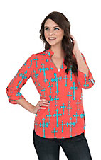 Cowgirl Hardware Women's Coral with Turquoise Crosses 3/4 Tab Sleeve Hi-Lo Fashion Top