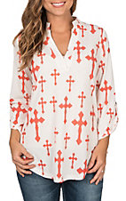 Cowgirl Hardware Women's White with Coral Fashion Cross Print 3/4 Tab Sleeve Fashion Top