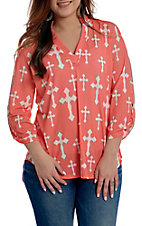 Cowgirl Hardware Women's Pink and White Fashion Cross Fashion Top