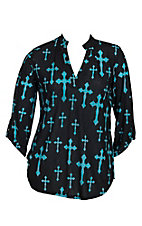 Cowgirl Hardware Women's Black with Turquoise Crosses 3/4 Tab Sleeve Hi-Lo Fashion Shirt - Plus Size