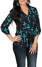 Cowgirl Hardware Women's Black with Turquoise Crosses 3/4 Tab Sleeve Hi-Lo Fashion Shirt