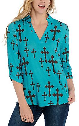 Cowgirl Hardware Women's Turquoise Brown Cross Print Fashion Top