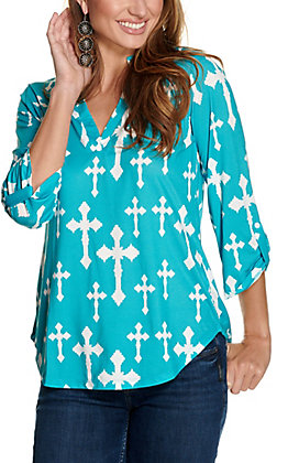 Cowgirl Hardware Women's Turquoise with White Steel Cross Print 3/4 Sleeve Fashion Top