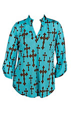 Cowgirl Hardware Women's Blue with Brown Crosses 3/4 Tab Sleeve Hi-Lo Fashion Top - Plus Size