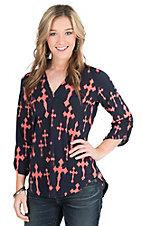 Cowgirl Hardware Women's Navy with Coral Crosses 3/4 Tab Sleeve Hi-Lo Fashion Top