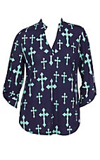 Cowgirl Hardware Women's Navy and Seafoam Fashion Cross High-Low Fashion Shirt - Plus Size